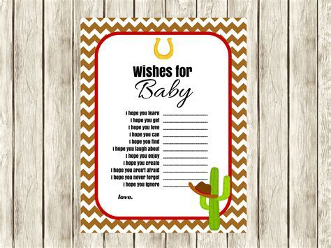 Cowboy Cowgirl West Baby Advice   Magical Printable