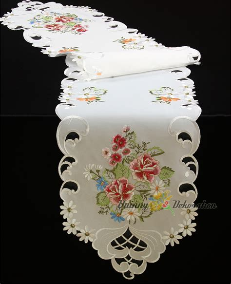 Burton Flower Pink Cover White table cloth topper runner doily cushion cover white pink flower embroidery ebay