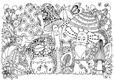 anti stress colouring book doodle and vector illustration zen tangle of mushrooms in the forest