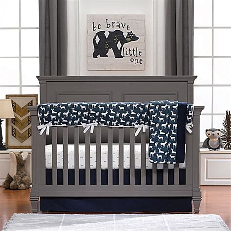 Liz And Roo Woodland 3 Piece Crib Bedding Set In Navy Woodland Nursery Bedding Set