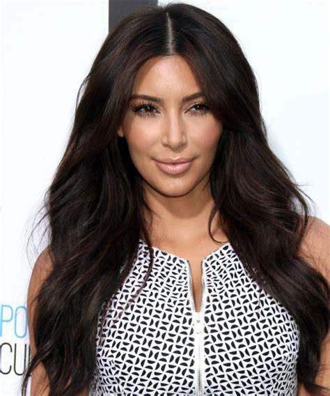 how to do kardashian hairstyles kim kardashian long straight casual hairstyle dark