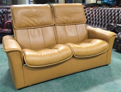 wide seat leather sofa stressless mustard leather 2 seat recliner sofa we deliver
