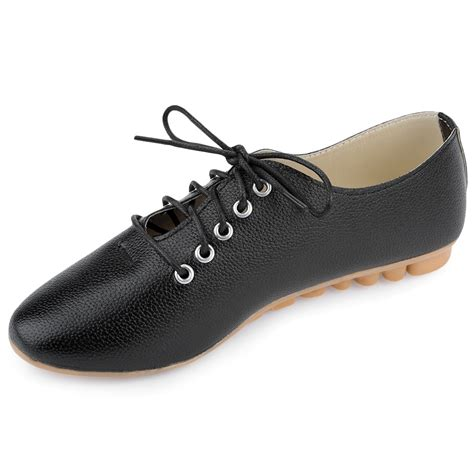 womens oxford shoes flat fashion leather lace up pointed toe comfort flat