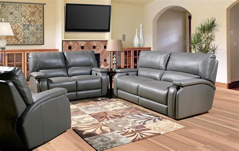 Gray Sofa Set Gray Leather Living Room Set Shop Leather Power Reclining Sofa Set