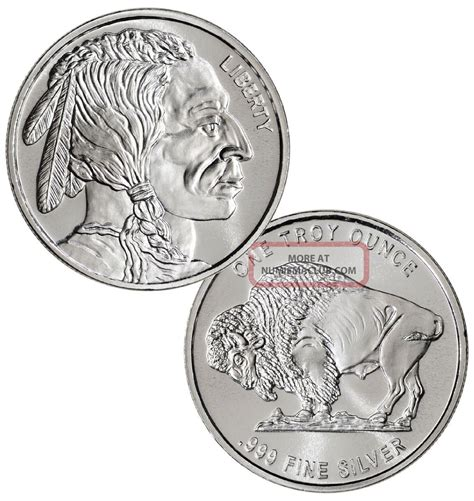 1 Troy Ounce Silver Value by 1 Buffalo Indian 1 Oz 999 Silver Coin One Troy