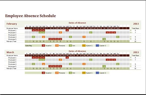 employee leave schedule template employee absence schedule template for excel word