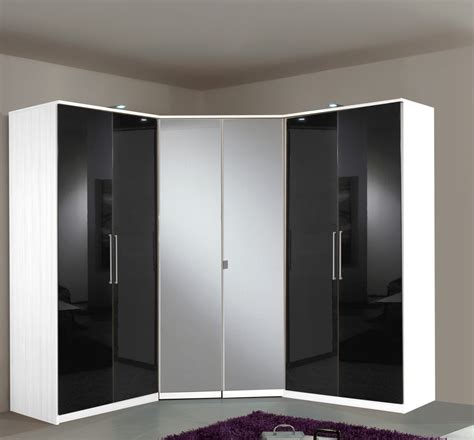 Wardrobes Sets by Berlin 6 Door Corner Wardrobe Set High Gloss Black And