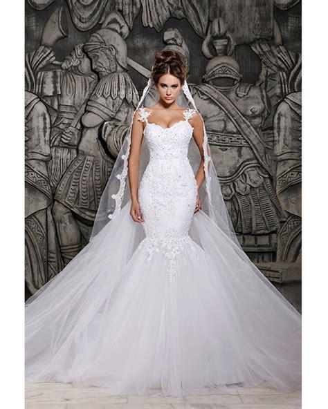 Luxurious White Beaded Rhinestone Mermaid Princess Wedding