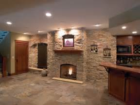 modern basements images of basements with stone walls this modern basement has slate tile flooring and a
