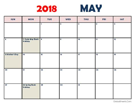 printable calendar landscape 2018 may 2018 calendar portrait landscape printable