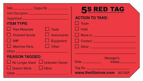 5s Red Tag Packs The 5s Store 5s Tag Template