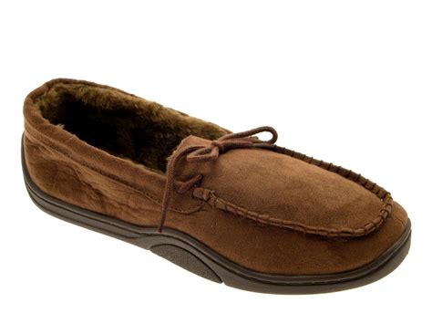 mens fur lined moccasin slippers mens warm slippers moccasins fauxn suede sheepskin fur