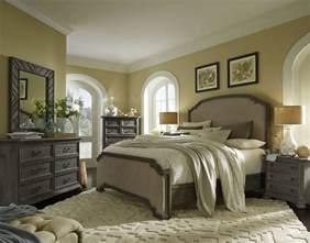 cheswick washed linen grey upholstered panel bedroom set