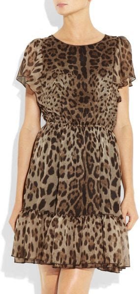 Leopard Chiffon Dress dolce gabbana leopard print silk chiffon dress in brown leopard lyst