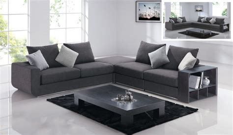 comfortable linen like sectional in grey with add on
