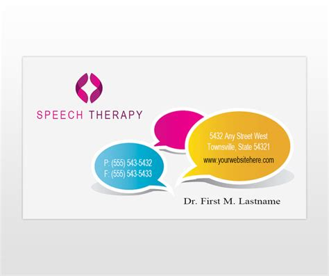 therapy business card templates speech language therapy business card template