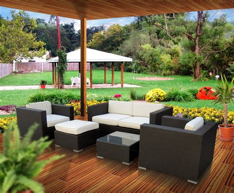Outdoor Table Ls For Patio Malibu Collection 5 Wicker Outdoor Sectional Sofa Set Patio Table