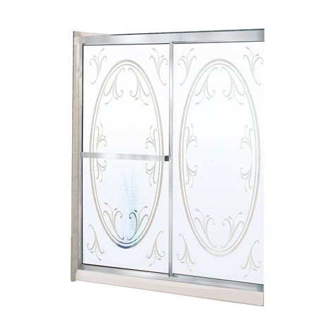 Maax Glass Shower Doors Maax Summer 46 1 2 In X 68 In Framed Sliding Shower Door In Satin Nickel With Summer