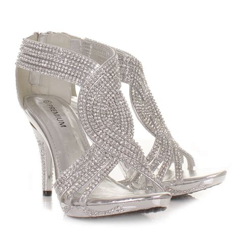 silver womens diamante wedding high heel prom shoes