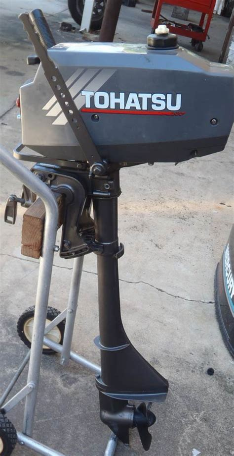 tohatsu 3 5 hp shaft outboard boat motor for sale