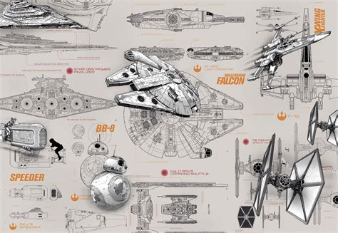 Retro Kitchen Wall Stickers photomural quot star wars blueprints quot from komar photomural com
