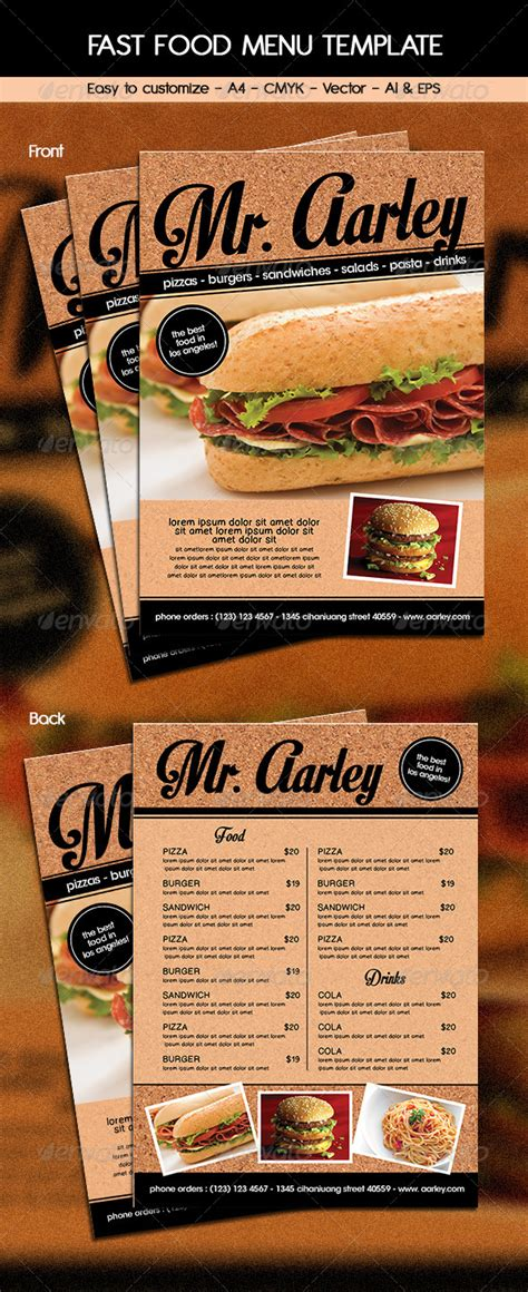 buy flyer templates fast food menu template