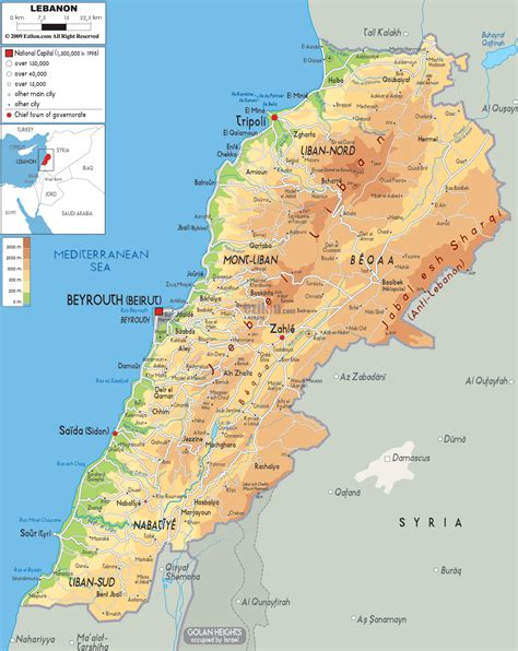 physical map of lebanon physical map of lebanon ezilon maps