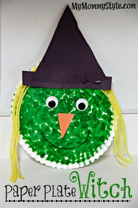 witch craft projects project paper plate witch paint dot