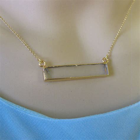 Bar Pendant Necklace bar pendant necklace horizontal gem