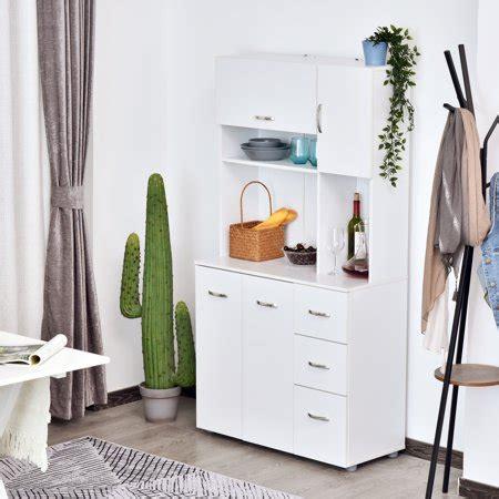 homcom  wood kitchen pantry storage cabinet microwave