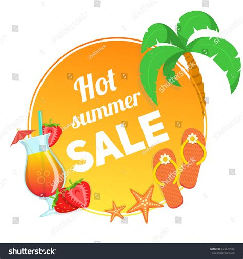 Eel Drink Summer Sale by Cocktail Strawberries Text Summer Sale Vector Stock Vector
