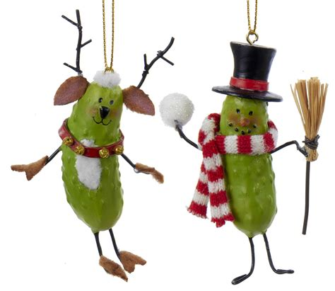 pickle people snowman reindeer christmas holiday ornaments