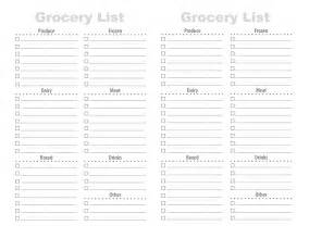 Organized Grocery List Template Printable Grocery List