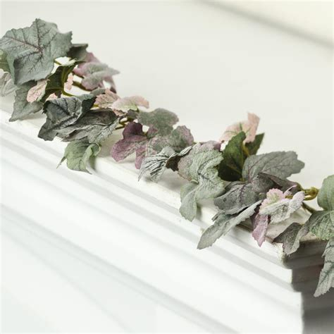 small flocked artificial grape leaf garland on sale
