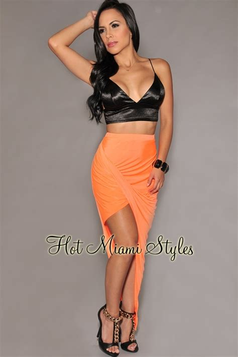 ruched draped skirt neon orange ruched asymmetrical draped jersey skirt