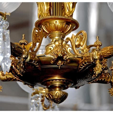 Antique Gas Chandelier 5 Arm Gilt Chandelier With Gas Shades For Sale Antiques Classifieds