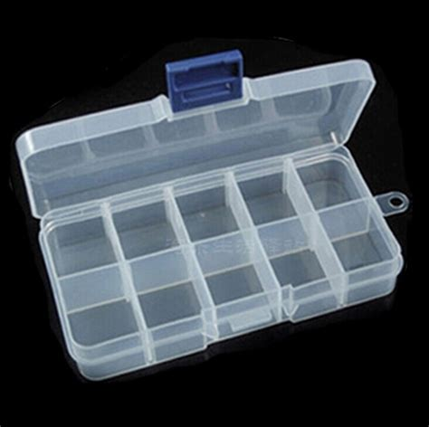New Portable Square 5 Grid Small Boxes 10 Grid Transparent Plastic Storage Jewelry Finishing