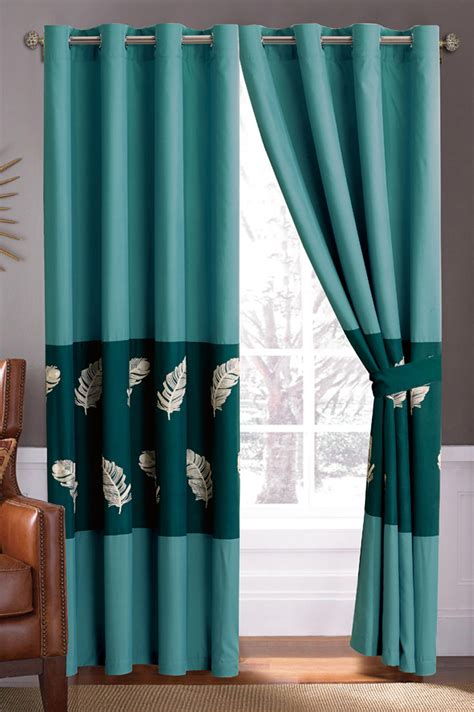green and teal curtains 4 pc fir leaves feather embroidery ruffled curtain set