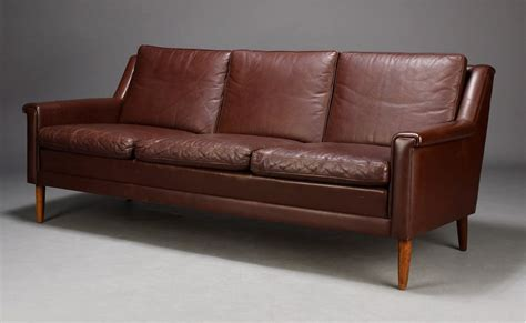 1950s style sofa danish sofa in brown leather 1950s in style seating