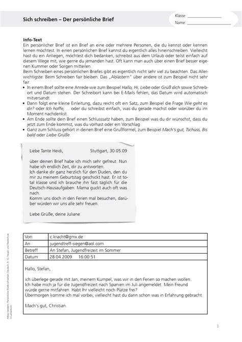 Informeller Brief Beispiel Briefe Schreiben Auf