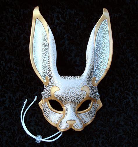 Handmade Masquerade Mask - venetian rabbit mask v4 handmade leather rabbit mask