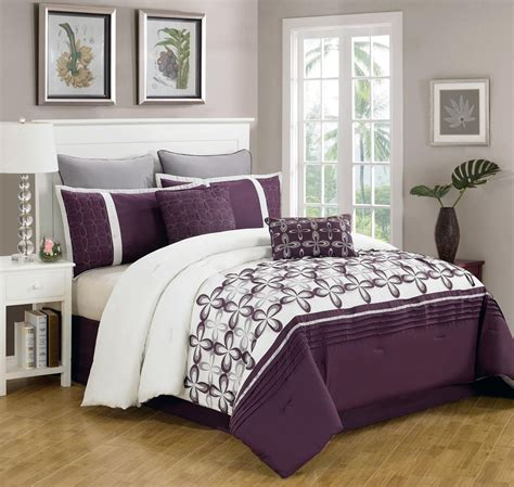 purple queen bed set 8 piece queen ellis purple and white bedding comforter set