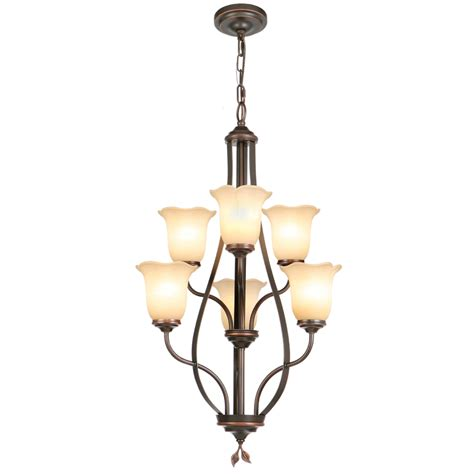 Shop Allen Roth Eastview 6 Light Dark Oil Rubbed Bronze Lowes Chandeliers
