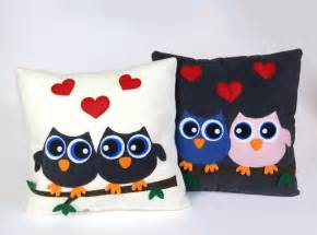Handmade Felt Pillows - handmade felt fleece stuffed pillow owls cushion home