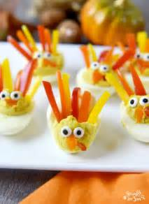 Orange Mayonnaise deviled egg turkeys sprinkle some fun