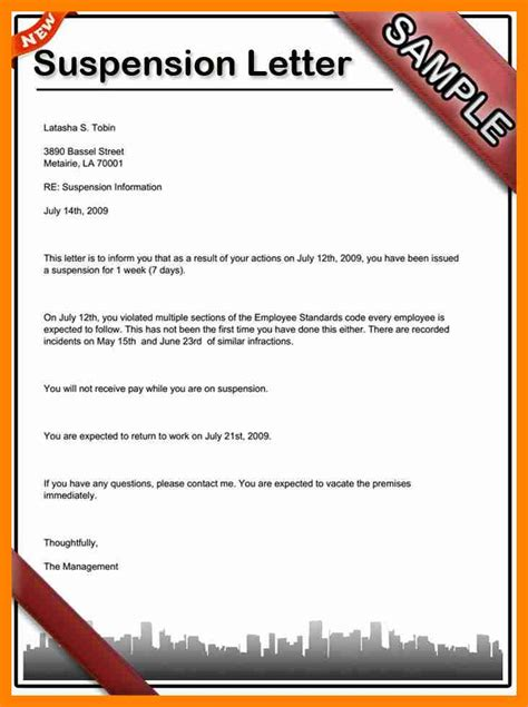 suspension from work letter template 8 sle suspension letter resumes great
