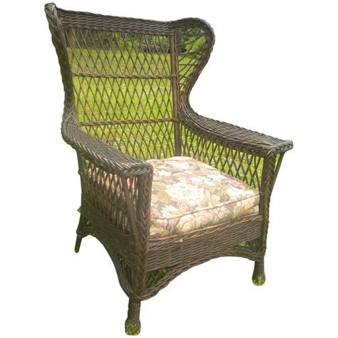 vintage wicker chair vintage large bar harbor wicker gentleman s wing