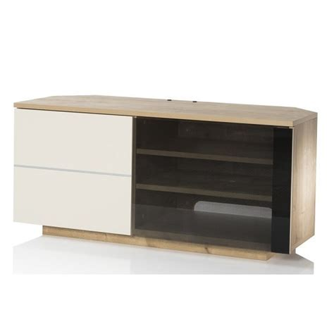Mayfair Corner TV Cabinet In Oak And Cream Gloss With 2