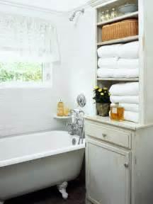 vintage bathroom storage whitewashed cabinet cottage bathroom bhg
