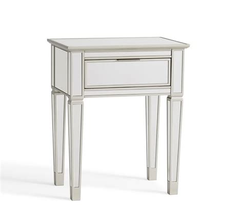 mirrored bedside table with one drawer park mirrored 1 drawer bedside table pottery barn
